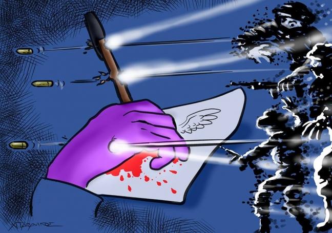 Σκίτσο του Χρήστου Παπανίκου, μετά τη δολοφονική επίθεση στο περιοδικό Charlie Hebdo, στο Παρίσι.