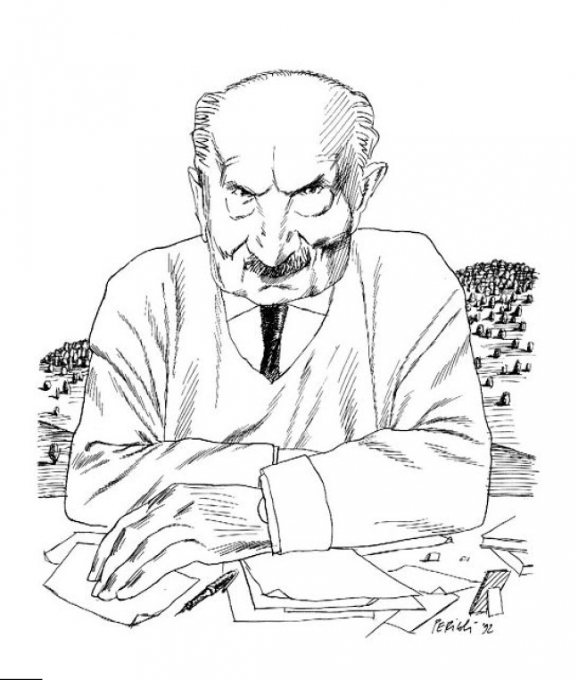 O Μάρτιν Χάιντεγκερ, όπως τον σχεδίασε ο περίφημος ιταλός εικονογράφος Τούλλιο Περικόλι.
